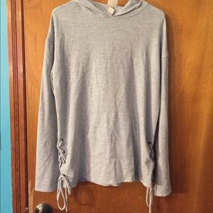 Grey Hood Pullover with Tie Detail